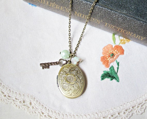 Mr. Darcy Locket Necklace with Key Charm