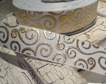 "7/8"" Holiday Gold Metallic Swirl on WHITE Grosgrain Ribbon sold by the yard"