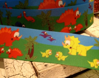 "1.5"" DINOSAUR Grosgrain Ribbon sold by the yard"