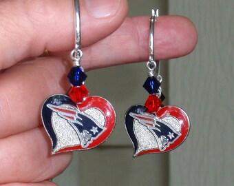 NE Patriots Earrings, Patriots Bling, Red and Navy Crystal Heart Charm Pro Football Patriots Jewelry Accessory Fanwear