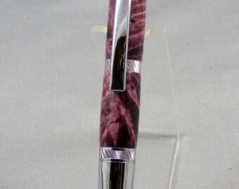 Elegant Purple Curly Maple and Chrome Twist Pen