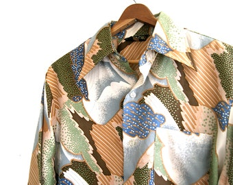 Abstract Print Button Down Shirt  // Vintage 70's