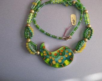 Flow of life - Cloisonne Enamel Pendant on a necklace