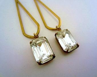 Long jewel dangle earrings. Mod jewelry. Raw brass, vintage Czech glass gem stones. Beautiful statement jewelry.