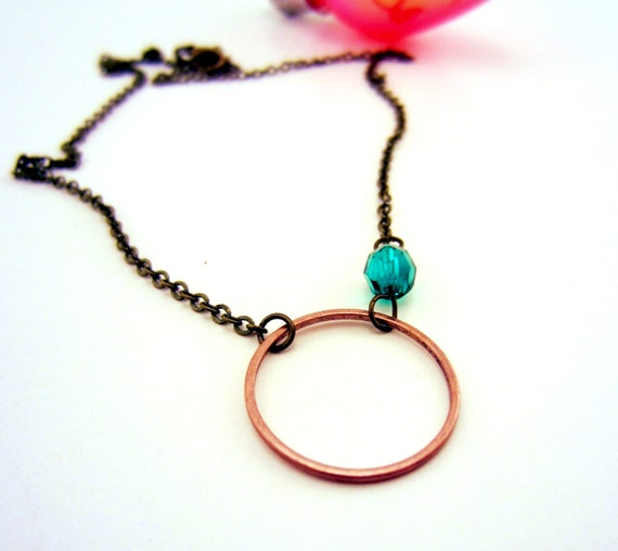 Set of two circle of love friendship necklace. Mixed metal jewelry. Simple, modern design. Great for daily wear. Friendship jewelry.