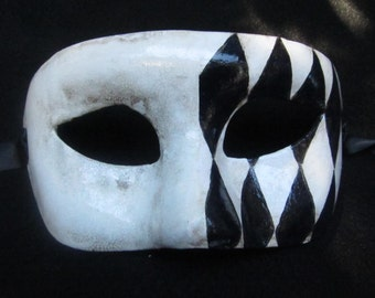 Prankster Mask, Black and White Harlequin Painted Eyemask