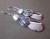 Dazzling Sterling Silver Triple Drop Dangle Earrings / 2.15 inches long / silver 925  / Bali handmade jewelry