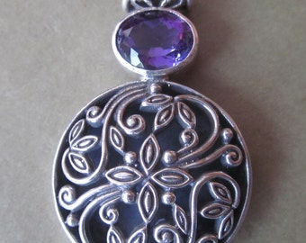 Balinese Sterling Silver Pendant Amethyst  / silver 925 / Bali handmade jewelry / 1.6 inch long