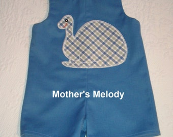 Dinosaur John John,  size 12 months - 1T with original applique in French Blue and White.