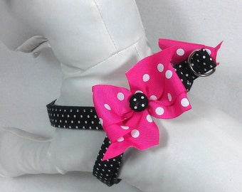 Quick and Comfy Black Dots Step In Dog Harness Size XS through Medium by Doogie Couture