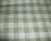 60s Olive Green Plaid Linen Fabric