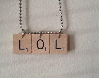 Scrabble Tile Text Message Shorthand Necklace LOL Laugh Out Loud