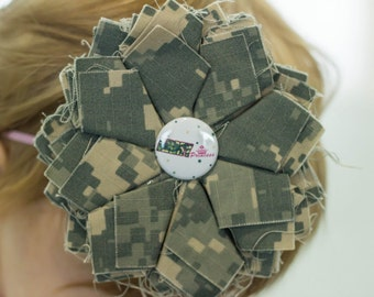 Army Camo Flower Headband...Army Princess