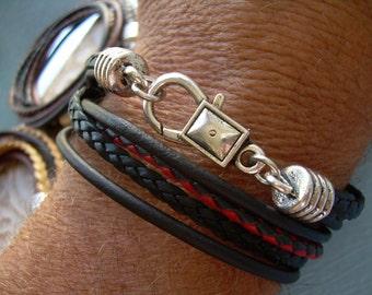 Leather Bracelet, Mens Leather Bracelet, Wrap Bracelet, Double Wrap Bacelet,  Mens Jewelry, Mens Bracelet, Bracelet, Jewelry