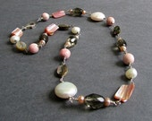 "Pink, Brown, and Ivory Necklace, Freshwater Pearls, Shells, Glass, Mixed Gemstones, Sterling Silver, June Birthstone, ""Uncover"""