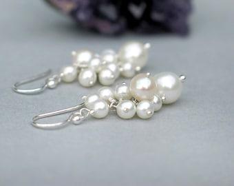 Cluster Pearl Earrings   White Freshwater Pearl Chandelier in Sterling Silver Dangles   June Birthstone   Pearl Berries   Made to Order