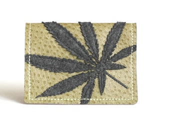 "Cannabis Wallet Card Case | Charcoal Grey Marijuana Leaf Silhouette on Green Vegan Leather - ""Half Baked"""