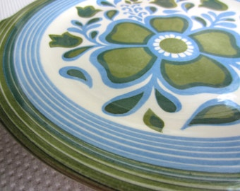 Vintage Blue and Green Flower Handled Cake Plate by Royal China