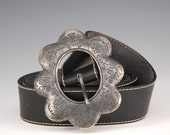 Black Leather Belt Silver Flower Embossed Buckle Hippie Boho Vintage - W1229