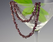 Garnet Necklace Red Gemstone Natural Gem Semi Prescious Strand Long January Birthstone Vintage - W3092