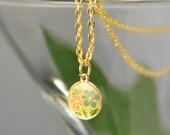 Pink Blue Flower Necklace Mini Pendant Gold Japanese Vintage - W3028