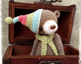 OOAK Miniature Crochet THREAD ARTist Miniature Bear Pattern 'Smores' by TheTinyToyBox