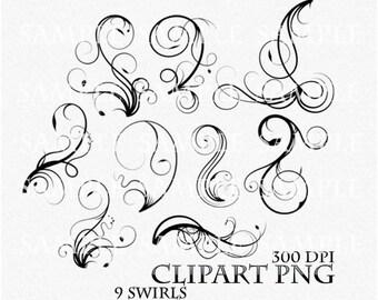 Swirl Clipart Clip Art Vector Flourish PNG Digital Scrapbook Victorian Stamp Fantasy Wedding Invitations Fantasy Gothic Black Silhouette