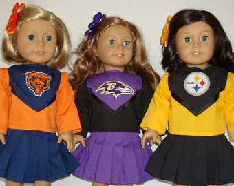 "18"" doll clothes/Chicago Bears/Baltimore Ravens/Pittsburgh Steelers/Cheerleader outfit/Made to fit 18 inch Girl Doll/READY TO SHIP"