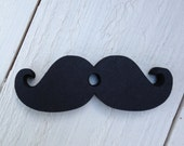 Black 3 Inch Mustache Die Cut With Center Hole for Bendy Straws