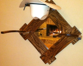 Oak Cowboy Western Hat Rack w/Mirror Wall Mount