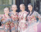 Gray Bridesmaids robes Sets. Kimono Robes. Spa Wraps. Perfect bridesmaids gift. Getting ready robes, Bridal shower party. Wedding favors