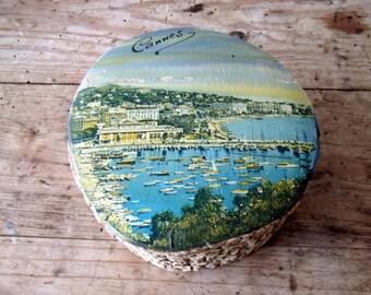 "Vintage French Wooden Box Souvenir ""Cannes"", 1950's"