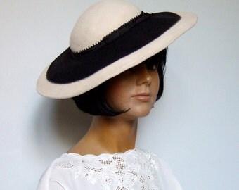 80s Wool Wide Brim Hat Beige Black Simple Feminine Hat Fall Fashion