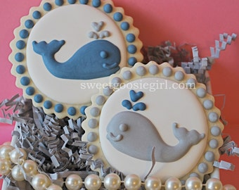 Preppy Blue & Gray Whales Decorated Sugar Cookies (12)