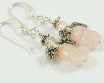 Pink Angel Earrings- Crystal Earrings- Guardian Angels, Heart Chakra, Stocking Stuffers, Gift for Her, Angel Guides, Breast Cancer Awareness