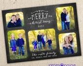 Chalkboard Art - Merry Christmas 5 picture design (5x7) - Digital File