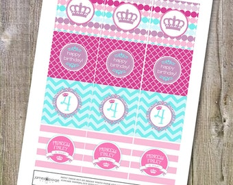 Pretty Princess Themed Birthday Party Squares - Four Designs - Print at Home