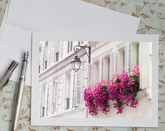 Paris Photo Notecard - Pink Geraniums in Window Boxes,  French Travel Greeting Card