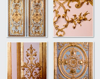 Paris Photography Set, Golden Details of Versailles - Four Square Photographs, Large Wall Art, French Wall Decor