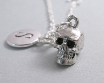 Skull 3D Necklace, Skull 3-D Charm, Skull Keychain, Silver Plated Charm, Engraved, Personalized, Monogram Charm