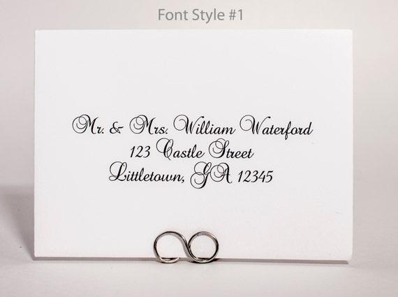 Return Address Printing with Digital Calligraphy -  4 Bar RSVP Envelopes