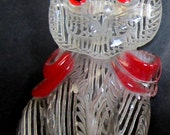 A  Beautiful Translucent  Clear  Lucite Cat with Red Bow ~ Pin / Brooch.