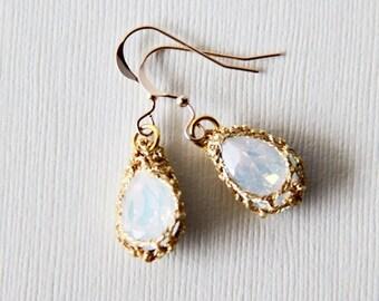 14K Gold Filled Ear Wires. Opal Milky White Swarovski Elements Crystal Fancy Stones on Crocheted Gold Threads. Weddings. Earrings. Regal