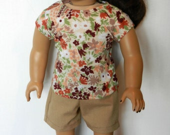 BK Dark Tan Shorts with Tan & Brown Flowered Tee - 18 Inch Doll Clothes fits American Girl