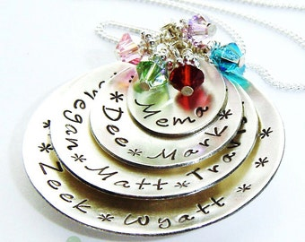 SALES -Grandmother  necklace - birthstone jewelry - women jewelry -  personalized charm up to 8 names in domed discs