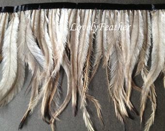 EMU feather fringe of natural color 10 yards trim