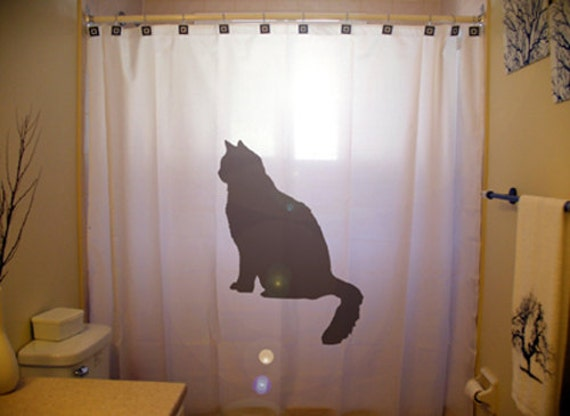 Lonely Black Cat Shower Curtain Feline Lover Bathroom Decor
