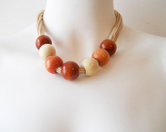 VTG Wood String Balls Circle Necklace Minimal Modernist