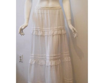 VTG Prairie Sheer White Ruffled Tiered Maxi Pleated Skirt