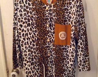 Bonnie animal print leopard blazer jacket 1980s 80s crest cardigan l XL Saved by the bell